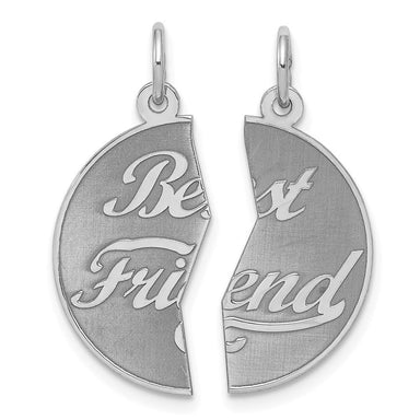 925 Sterling Silver 2 Piece Best Friends Bestfriend Friendship Disc Pendant Charm Necklace Special Person Fine Jewelry Gifts For Women For Her Pendant Necklaces IceCarats.com Designer Jewelry Gift USA