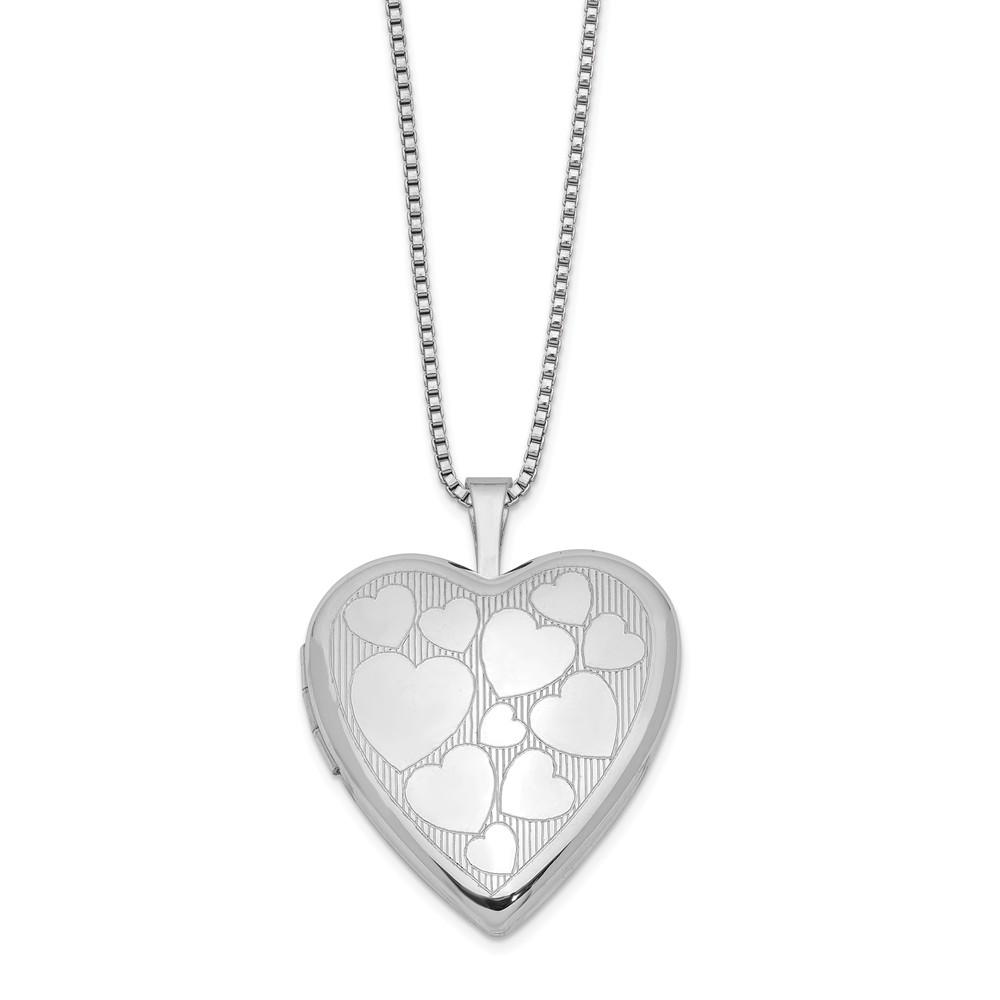 925 Sterling Silver 20mm Floating Hearts Heart Photo Pendant Charm Locket Chain Necklace That Holds Pictures W/chain Fine Jewelry Gifts For Women For Locket Necklaces IceCarats.com Designer Jewelry Gift USA