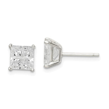 925 Sterling Silver 6mm Square Cubic Zirconia Cz Basket Set Stud Earrings Fine Jewelry Gifts For Women For Her Stud Earrings IceCarats.com Designer Jewelry Gift USA