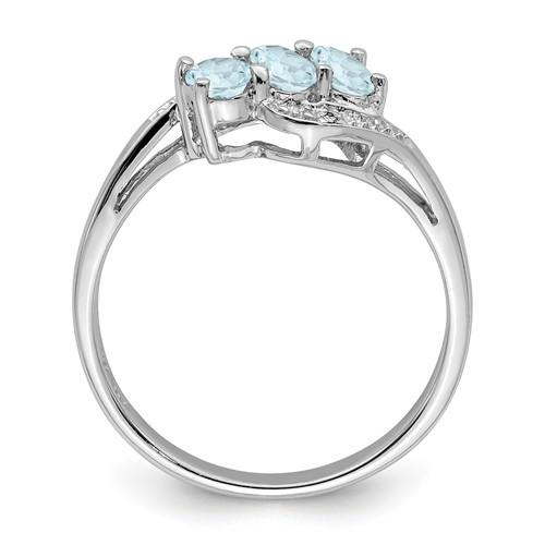 925 Sterling Silver Aqua Diamond Band Ring Gemstone Fine Jewelry Gifts For Women For Her >Jewelry>Rings>Gemstone >Jewelry>Rings>Gemstone