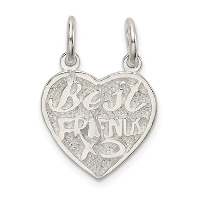 925 Sterling Silver Best Friends Bestfriend Friendship 2 Piece Break Apart Heart Pendant Charm Necklace Special Person Fine Jewelry Gifts For Women Pendant Necklaces IceCarats.com Designer Jewelry Gift USA