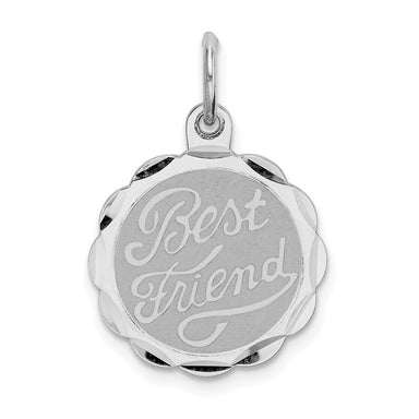 925 Sterling Silver Best Friends Bestfriend Friendship Disc Pendant Charm Necklace Special Person Fine Jewelry Gifts For Women For Her Pendant Necklaces IceCarats.com Designer Jewelry Gift USA