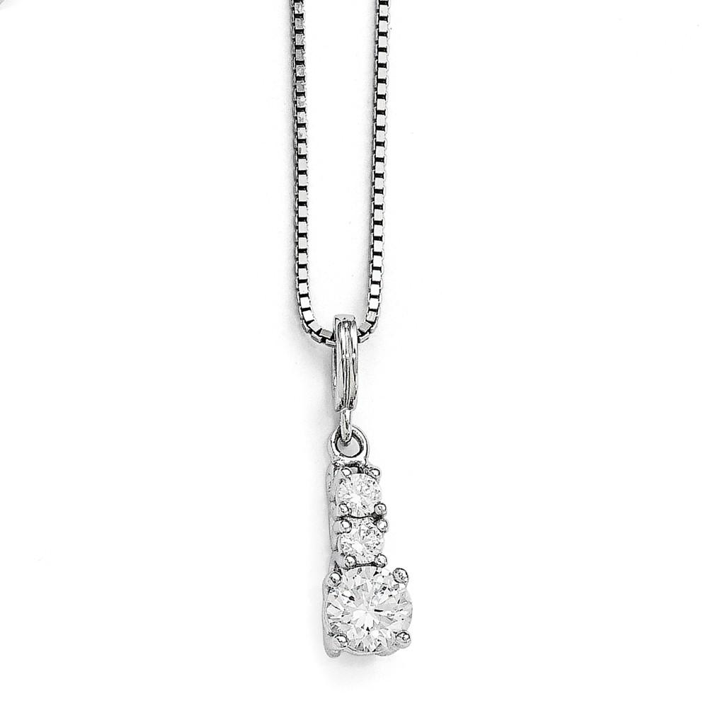 925 Sterling Silver Cubic Zirconia Cz 3 Stone Chain Necklace Pendant Charm Fine Jewelry Gifts For Women For Her Pendant Necklaces IceCarats.com Designer Jewelry Gift USA