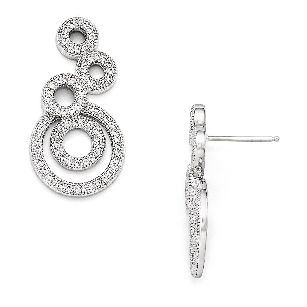 925 Sterling Silver Cubic Zirconia Cz Circle Drop Dangle Chandelier Post Stud Earrings Fine Jewelry Gifts For Women For Her Dangle Earrings IceCarats.com Designer Jewelry Gift USA