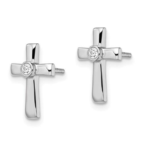 925 Sterling Silver Cubic Zirconia Cz Cross Religious Post Stud Earrings Fine Jewelry Gifts For Women For Her Stud Earrings IceCarats.com Designer Jewelry Gift USA