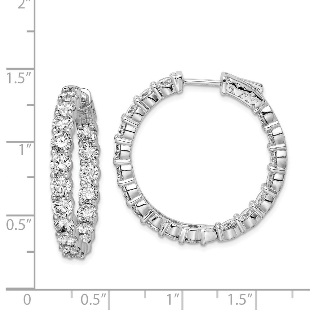 925 Sterling Silver Cubic Zirconia Cz In Out Hinged Hoop Earrings Ear Hoops Set Fine Jewelry Gifts For Women For Her Hoop Earrings IceCarats.com Designer Jewelry Gift USA
