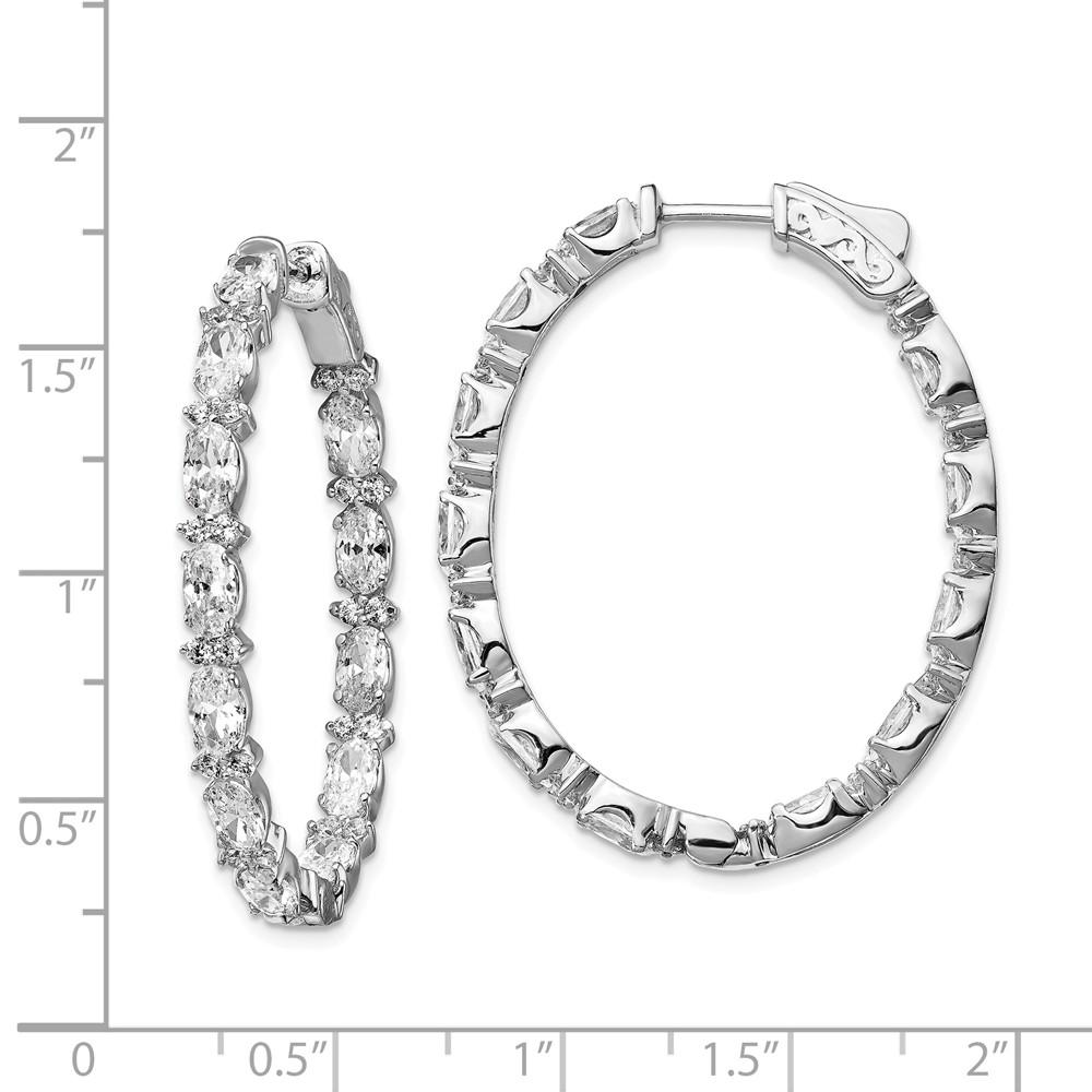 925 Sterling Silver Cubic Zirconia Cz In Out Oval Hoop Earrings Ear Hoops Set Fine Jewelry Gifts For Women For Her Hoop Earrings IceCarats.com Designer Jewelry Gift USA
