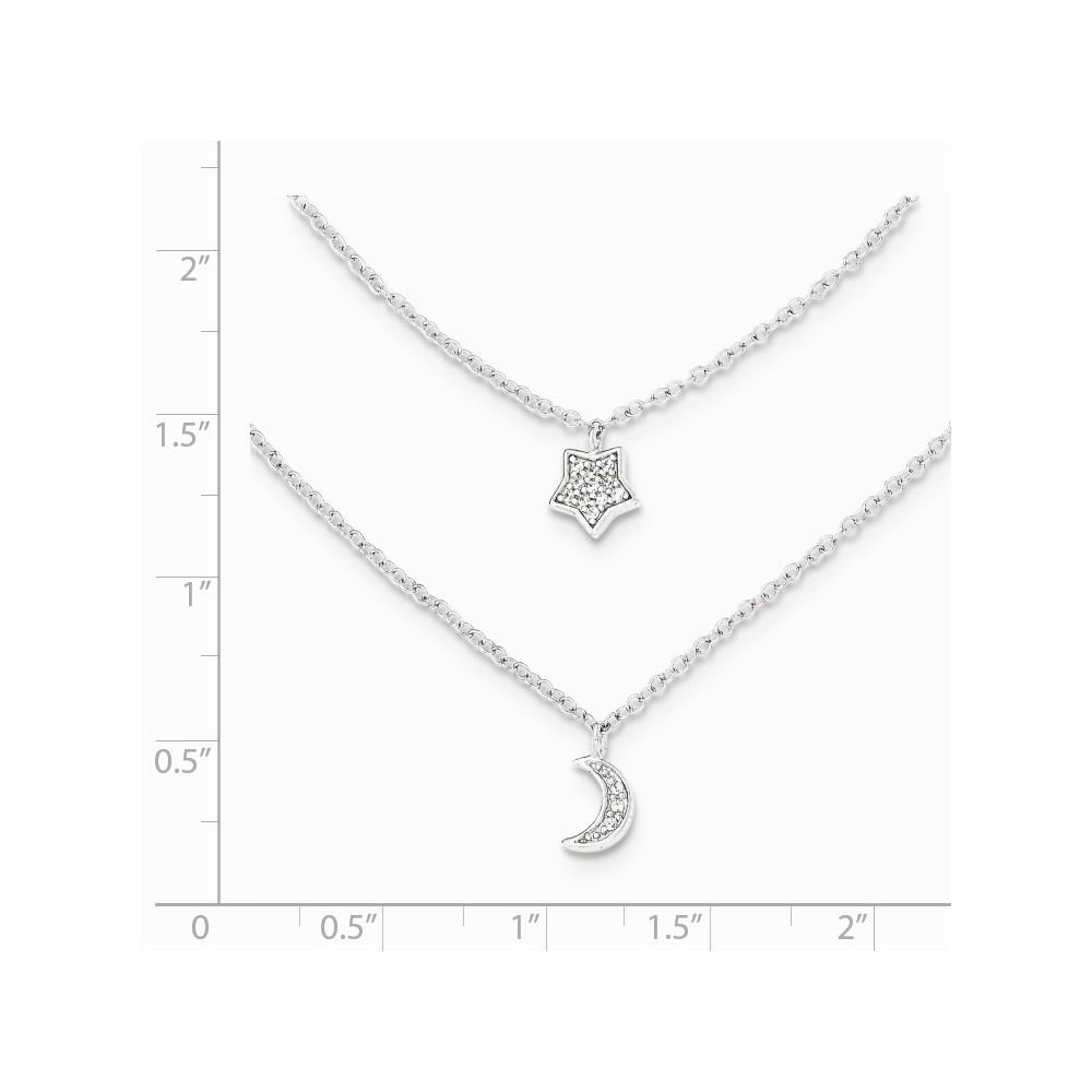 925 Sterling Silver Cubic Zirconia Cz Moon/star Double Strand 1in. Extension Chain Necklace Pendant Charm Sun Moon Star Multi Layer Fine Jewelry Strand Necklaces IceCarats.com Designer Jewelry Gift USA