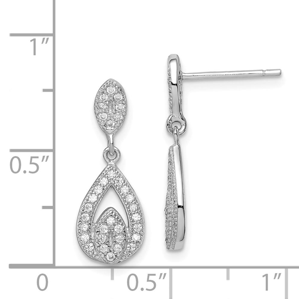 925 Sterling Silver Cubic Zirconia Cz Pear Drop Dangle Chandelier Post Stud Earrings Fine Jewelry Gifts For Women For Her Dangle Earrings IceCarats.com Designer Jewelry Gift USA