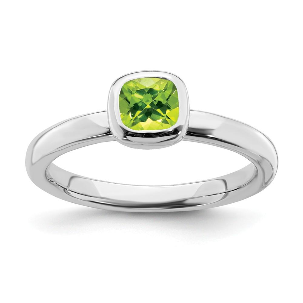 925 Sterling Silver Cushion Cut Green Peridot Band Ring Stone Stackable Gemstone Birthstone August Fine Jewelry Gifts For Women For Her Wedding Bands IceCarats.com Designer Jewelry Gift USA