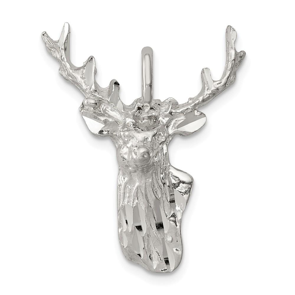 925 Sterling Silver Deer Head Pendant Charm Necklace Animal Man Fine Jewelry Gift For Dad Mens For Him Pendant Necklaces IceCarats.com Designer Jewelry Gift USA