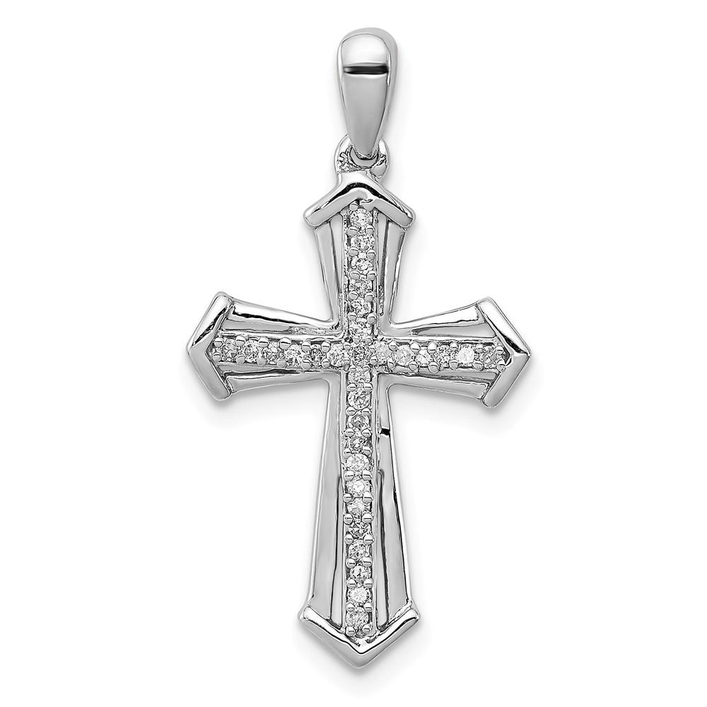 925 Sterling Silver Diamond Cross Religious Pendant Charm Necklace Fine Jewelry Gifts For Women For Her Pendant Necklaces IceCarats.com Designer Jewelry Gift USA