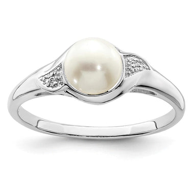 925 Sterling Silver Diamond Freshwater Cultured Pearl Band Ring Gemstone Fine Jewelry Gifts For Women For Her Wedding Bands IceCarats.com Designer Jewelry Gift USA