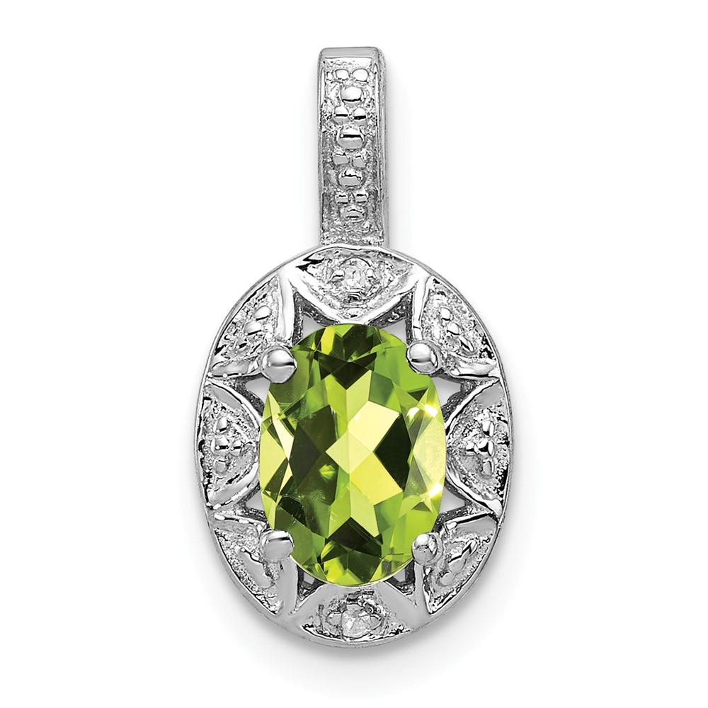 925 Sterling Silver Diamond Green Peridot Pendant Charm Necklace Set Birthstone August Fine Jewelry Gifts For Women For Her Pendant Necklaces IceCarats.com Designer Jewelry Gift USA