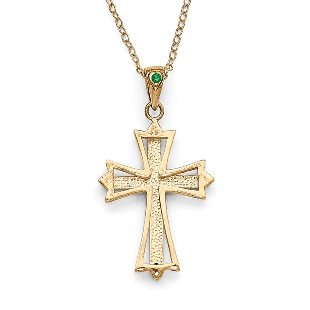 925 Sterling Silver Diamond Mystique Gold Plated Dia/emerald 18 Inch Cro925 Chain Necklace Pendant Charm Cross Crucifix Fine Jewelry Gifts For Women Pendant Necklaces IceCarats.com Designer Jewelry Gift USA