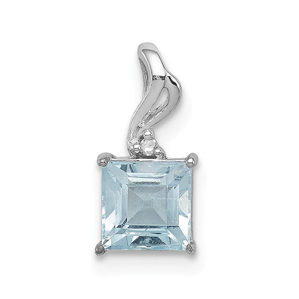 925 Sterling Silver Diamond Sky Blue Topaz Square Pendant Charm Necklace Gemstone Fine Jewelry Gifts For Women For Her Pendant Necklaces IceCarats.com Designer Jewelry Gift USA