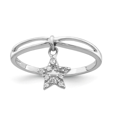 925 Sterling Silver Diamond Star Dangle Band Ring Sun/moon/star Fine Jewelry Gifts For Women For Her Wedding Bands IceCarats.com Designer Jewelry Gift USA
