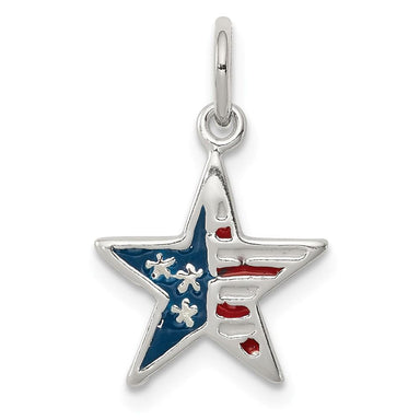 925 Sterling Silver Enamel American Flag Star Pendant Charm Necklace Patriotic Fine Jewelry Gifts For Women For Her Pendant Necklaces IceCarats.com Designer Jewelry Gift USA