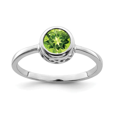 925 Sterling Silver Green Peridot Round Band Ring Birthstone August Gemstone Fine Jewelry Gifts For Women For Her Wedding Bands IceCarats.com Designer Jewelry Gift USA