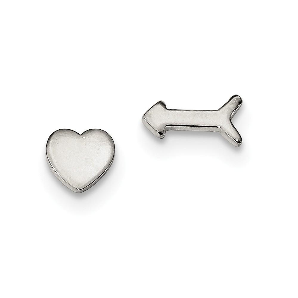925 Sterling Silver Left Right Heart/arrow Post Stud Earrings Love Fine Jewelry Gifts For Women For Her Stud Earrings IceCarats.com Designer Jewelry Gift USA