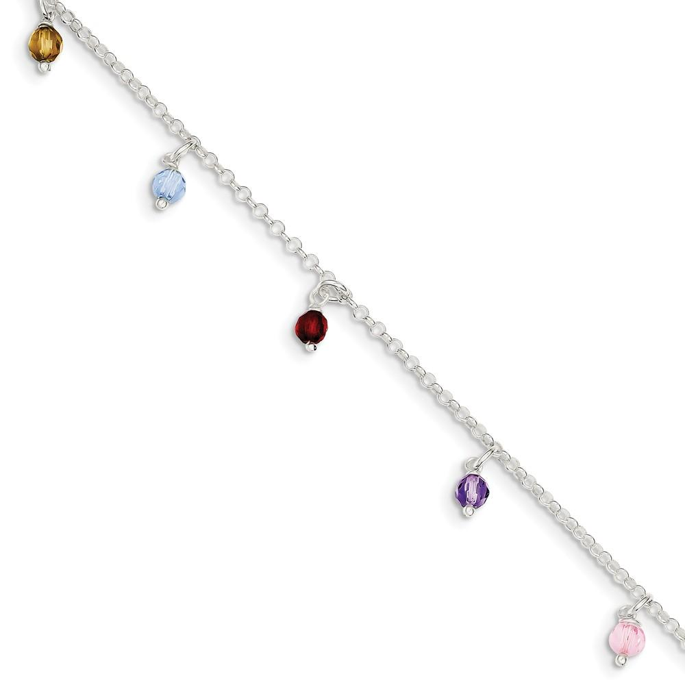 925 Sterling Silver Multi Colored Beads 1 Inch Adjustable Chain Plus Size Extender Anklet Ankle Beach Bracelet Fine Jewelry Gifts For Women For Her Anklets IceCarats.com Designer Jewelry Gift USA
