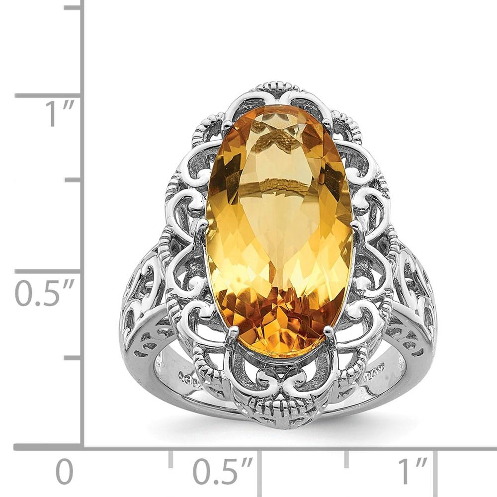 925 Sterling Silver Oval Yellow Citrine Band Ring Gemstone Fine Jewelry Gifts For Women For Her Wedding Bands IceCarats.com Designer Jewelry Gift USA