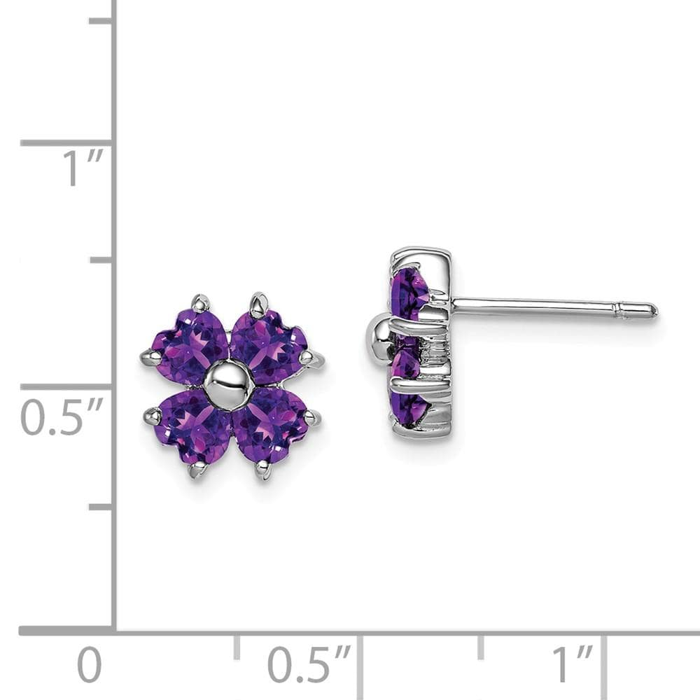925 Sterling Silver Purple Amethyst Flower Post Stud Earrings Gardening Fine Jewelry Gifts For Women For Her Stud Earrings IceCarats.com Designer Jewelry Gift USA