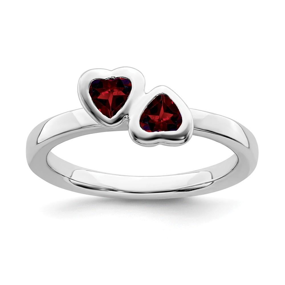 925 Sterling Silver Red Garnet Double Heart Band Ring S/love Stackable Gemstone Birthstone January Fine Jewelry Gifts For Women For Her Wedding Bands IceCarats.com Designer Jewelry Gift USA