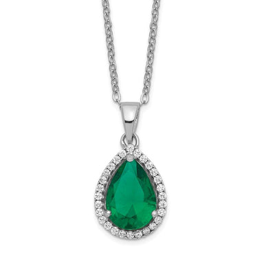 925 Sterling Silver Simulated Green Emerald Cubic Zirconia Cz Chain Necklace Set Pendant Charm S Pear Birthstone Fine Jewelry Gifts For Women For Her Pendant Necklaces IceCarats.com Designer Jewelry Gift USA