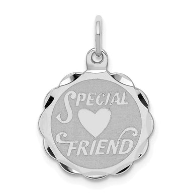 925 Sterling Silver Special Friend Disc Pendant Charm Necklace Person Fine Jewelry Gifts For Women For Her Pendant Necklaces IceCarats.com Designer Jewelry Gift USA