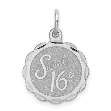 925 Sterling Silver Sweet Sixteen Girl 16 Birthday Disc Pendant Charm Necklace Special Day Fine Jewelry Gifts For Women For Her Pendant Necklaces IceCarats.com Designer Jewelry Gift USA