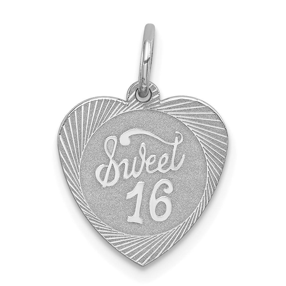 925 Sterling Silver Sweet Sixteen Girl 16 Birthday Heart Disc Pendant Charm Necklace Special Day Fine Jewelry Gifts For Women For Her Pendant Necklaces IceCarats.com Designer Jewelry Gift USA