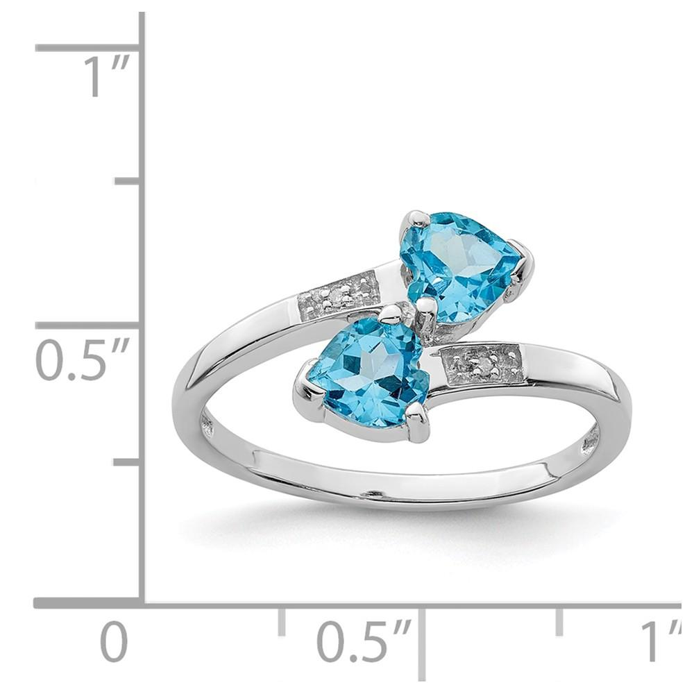 925 Sterling Silver Swiss Blue Topaz Diamond Heart Band Ring S/love Stone Gemstone Fine Jewelry Gifts For Women For Her Wedding Bands IceCarats.com Designer Jewelry Gift USA