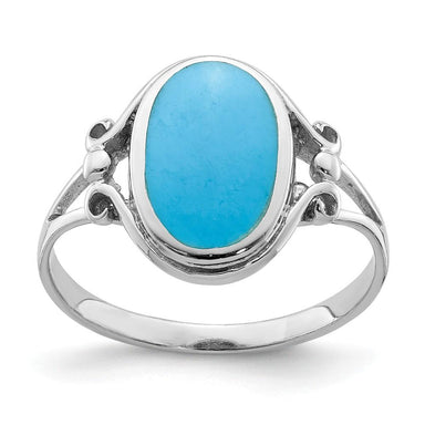 925 Sterling Silver Synthetic Blue Turquoise Band Ring Fine Jewelry Gifts For Women For Her Wedding Bands IceCarats.com Designer Jewelry Gift USA