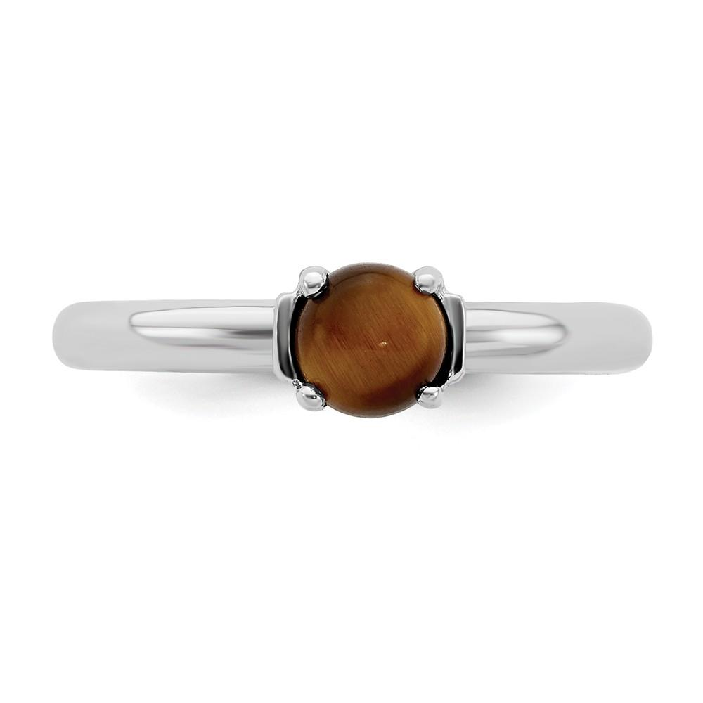 925 Sterling Silver Tigers Eye Band Ring Stackable Gemstone Natural Stone Tiger Fine Jewelry Gifts For Women For Her Wedding Bands IceCarats.com Designer Jewelry Gift USA