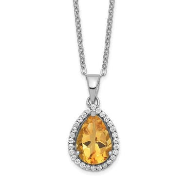 925 Sterling Silver Yellow Citrine Cubic Zirconia Cz Chain Necklace Set Pendant Charm Gemstone S Pear Birthstone Fine Jewelry Gifts For Women For Her >Jewelry>Necklaces>Gemstone>Pear Shape Halo Birthstone Series IceCarats.com Designer Jewelry Gift USA