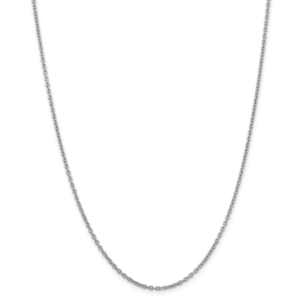 14k White Gold 2mm Link Cable Chain Necklace 30 Inch Pendant Charm Round Fine Jewelry For Women Gifts For Her