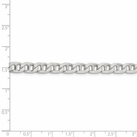 925 Sterling Silver 6.5mm Flat Link Anchor Chain Anklet Ankle Beach Bracelet 7 Inch : Fine Jewelry Gifts For Women For Her