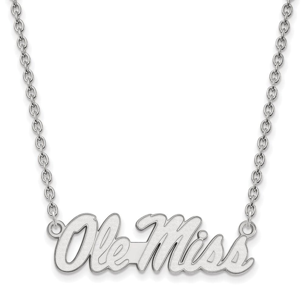 925 Sterling Silver Rh P Logoart University Of Mississippi Large Pendant Chain Necklace Collegiate Fine Jewelry For Women Gifts For Her