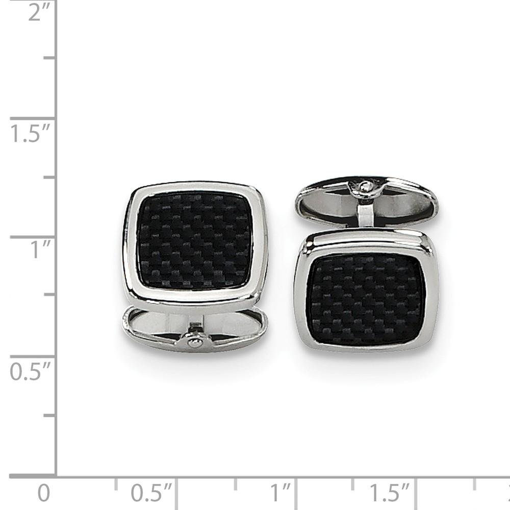 Stainless Steel Black Carbon Fiber Inlay Cufflinks Man Cuff Link Fashion Jewelry Gift For Dad Mens For Him Jewelry IceCarats.com Designer Jewelry Gift USA