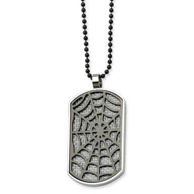 Stainless Steel Grey Carbon Fiber Inlay Spider Web Dog Tag Chain Necklace Pendant Charm Dogtag Fashion Jewelry Gifts For Women For Her Pendant Necklaces IceCarats.com Designer Jewelry Gift USA