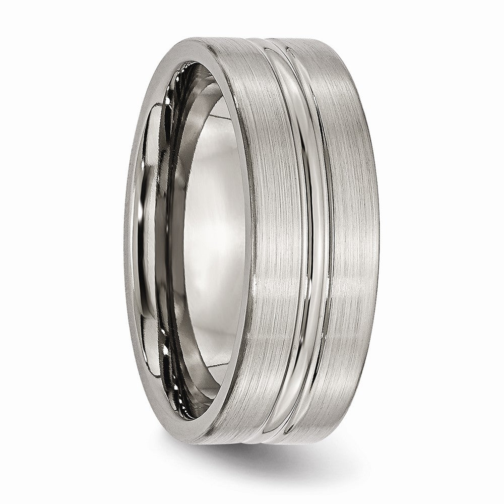 Titanium Grooved 8mm Brushed Wedding Ring Band Fashion Jewelry Gifts For Women For Her