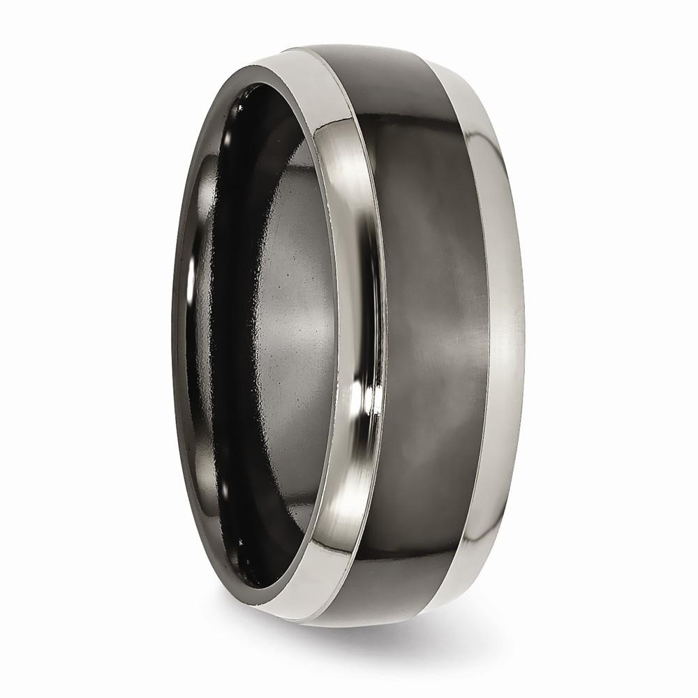 Titanium Black Two Toned Edge 8mm Wedding Ring Band Fancy Fashion Jewelry Gifts For Women For Her Wedding Bands IceCarats.com Designer Jewelry Gift USA