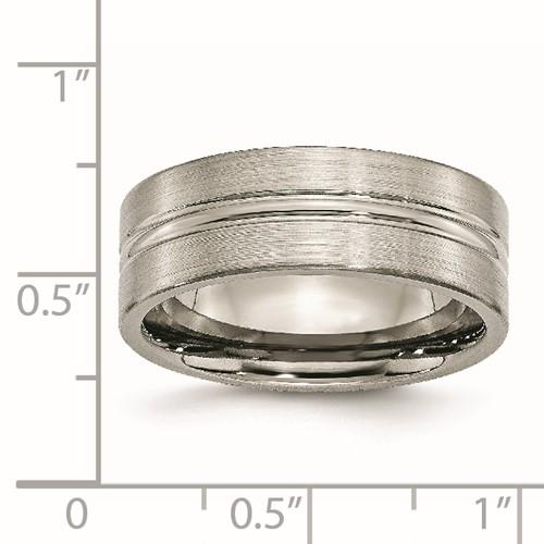Titanium Grooved 8mm Brushed Wedding Ring Band Fashion Jewelry Gifts For Women For Her >Jewelry>Rings>Wedding Bands>Grooved Bands >Jewelry>Rings>Wedding Bands>Grooved Bands