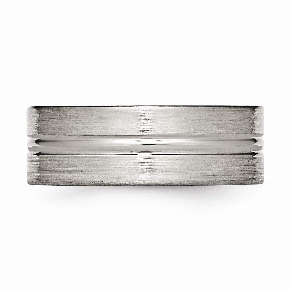 Titanium Grooved 8mm Brushed Wedding Ring Band Fashion Jewelry Gifts For Women For Her Wedding Bands IceCarats.com Designer Jewelry Gift USA