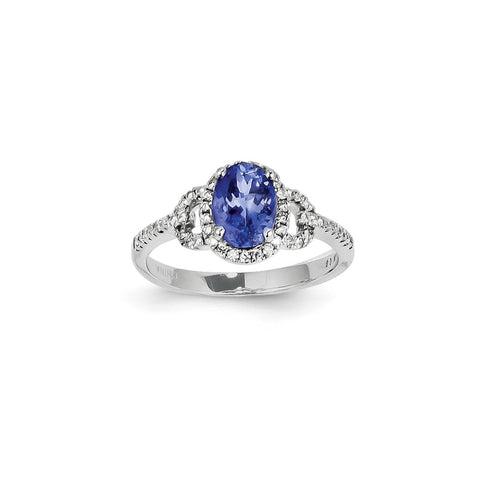 14k White Gold Blue Tanzanite Diamond Ring Stone Gemstone Fine Jewelry Gifts For Women For Her