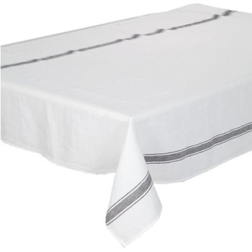 100% Linen Tablecloth European Stone Washed 170cm x 250cm White with Light Grey-Janggalay