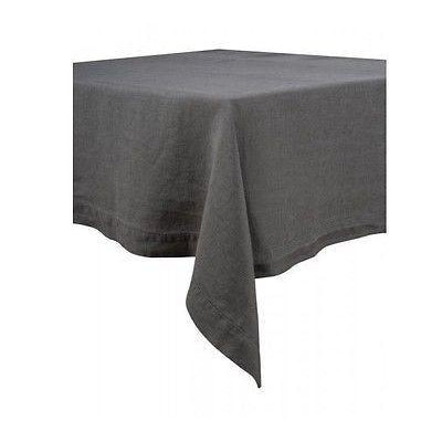 100% Linen Tablecloth European Stone Washed 170cm x 300cm Granite or Dark Grey-Janggalay