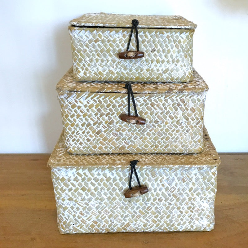 Rattan Box Set with Lids Square-Janggalay