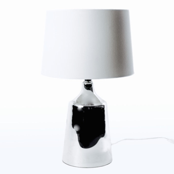 Mercury Glass Lamp with White Shade-Janggalay